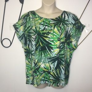 Cable & Guage tropical print cold shoulder top